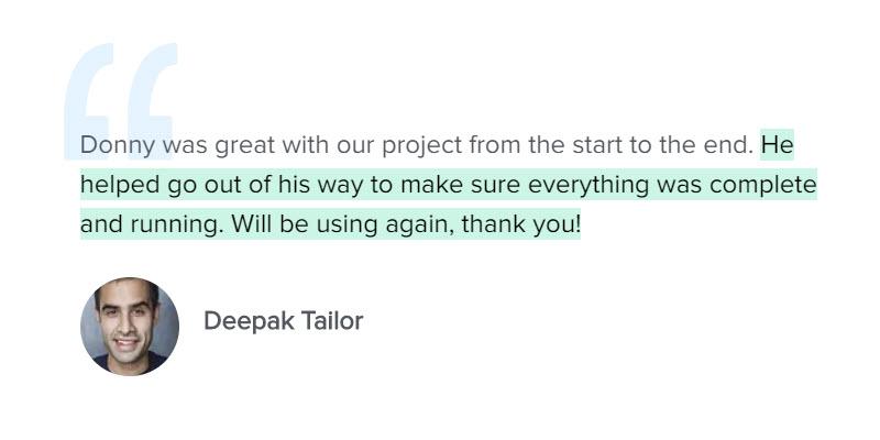 Testimonial Deepak Tailor